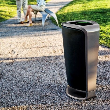 Modern Litter Bins, Collect - Bailey Artform  The stylish contemporary Collect litter bin and companion recycling unit share a distinctive profile and provide basic function with surprising flair.   #modern #litterbins #collect #baileyartform #streetfurniture #urban #public #site #furniture #landarch #design #architecture