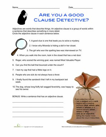 Worksheets: Adjective Clauses