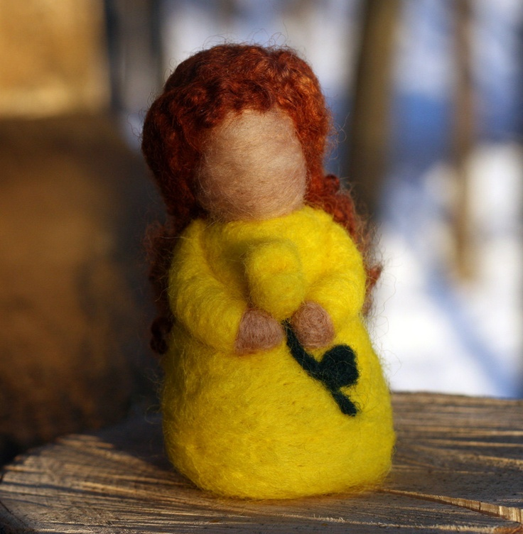 """Needle Felted """"Root Children"""" or """"Flower Fairy"""" -Yellow Tulip. $25.00, via Etsy."""