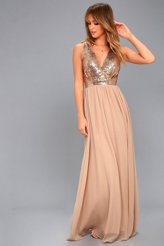d838598a The Elegant Encounter Champagne Sequin Maxi Dress was made for fairy tale  endings! A sleeveless sequin bodice with no-slip strips, and plunging V- neckline, ...