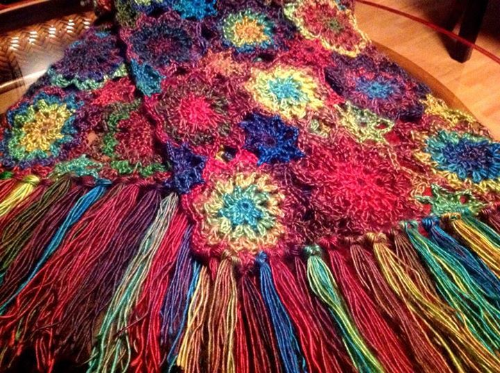 """From fan Catt London: """"I finished my Lorelei Shawl. I did it in Boutique Unforgettable Stained Glass. I just love the color transition and it worked up beautifully. It was so fun to make. Can't wait for it to get cold out so I can wear it. Thanks Red Heart for the great free pattern   http://www.redheart.com/free-patterns/crochet-lorelei-shawl"""""""