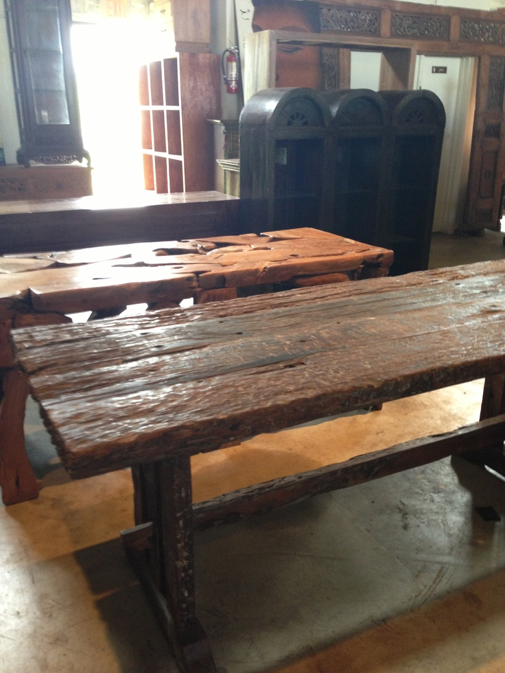 Reclaimed wood Indonesian railroad ties made into the