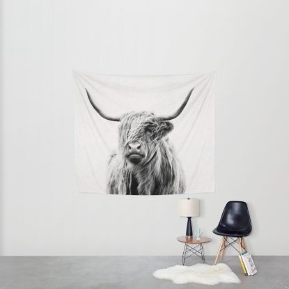 portrait of a highland cow Wall Tapestry by Dorit Fuhg | Society6
