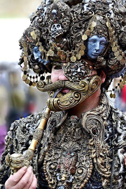 Steampunk rococo turban man - Rococopunk cosplay with baroque/rococo embellishments on jacket, turban, pipe, eyepatch. indian influenced design.