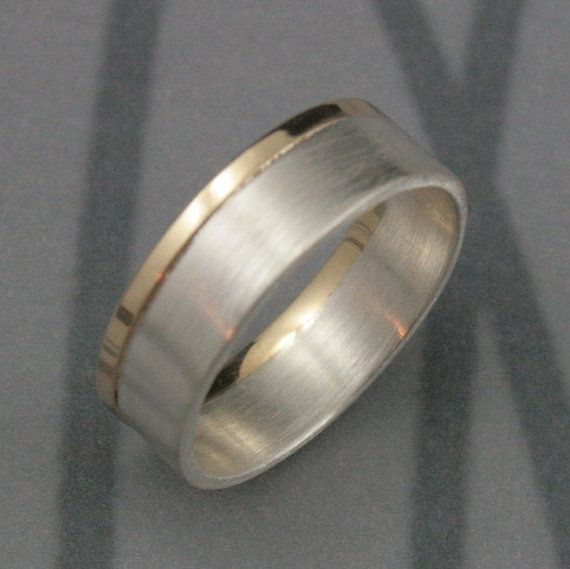Modern Two Tone Wedding Band--Solid 14K Yellow Gold and Sterling Silver--Brushed and Polished--Men's Wedding Ring--Custom Made to Size on Etsy, £120.90