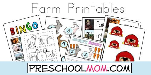 Free Farm Printables from Preschool Mom!  Farm animal baby match up game, sequencing, bingo, wordwall cards, file folder games, coloring pages, classroom quilt and more!