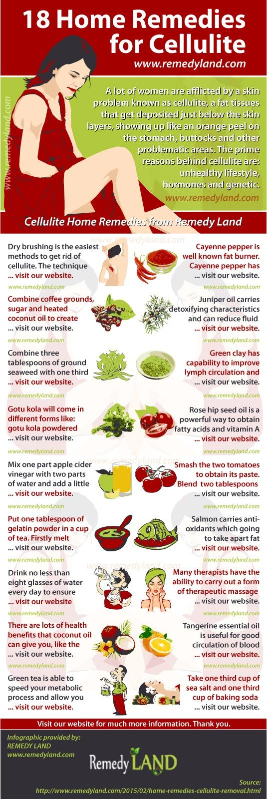 Collection of 18 home remedies for cellulite removal, or tips how to get rid of cellulite at home with natural remedies.