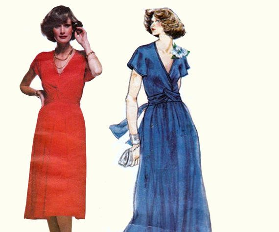 Vintage 1970s Vogue French Boutique Pattern 1502 Christian Aujard Dress or Maxi Dress with twist front