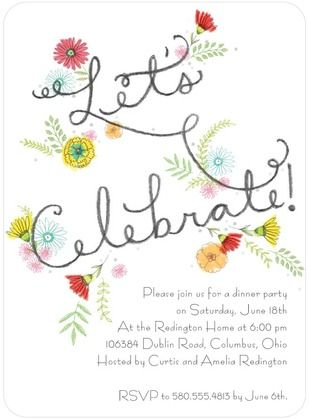 Spring Merriment - Party Invitations - Hallmark - White | www.TinyPrints.comFloral Invitations, Celebrities Floral, Spring Merriment, Floral Parties, Party Invitations, Illustration, Invitations Inspiration, Parties Invitations, Celebrities Invitations
