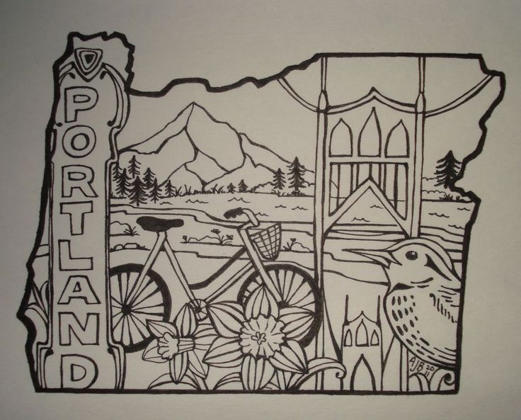 "St. John's Bird-Portland Oregon Outline Drawing. 5"" x 7"", pen on paper. By Allison J. Bratt. www.AllisonJBratt.com, www.facebook.com/AllisonJBrattArt, Twitter: @AllisonBrattArt"
