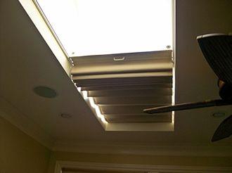 Partially closed/opened skylight shade
