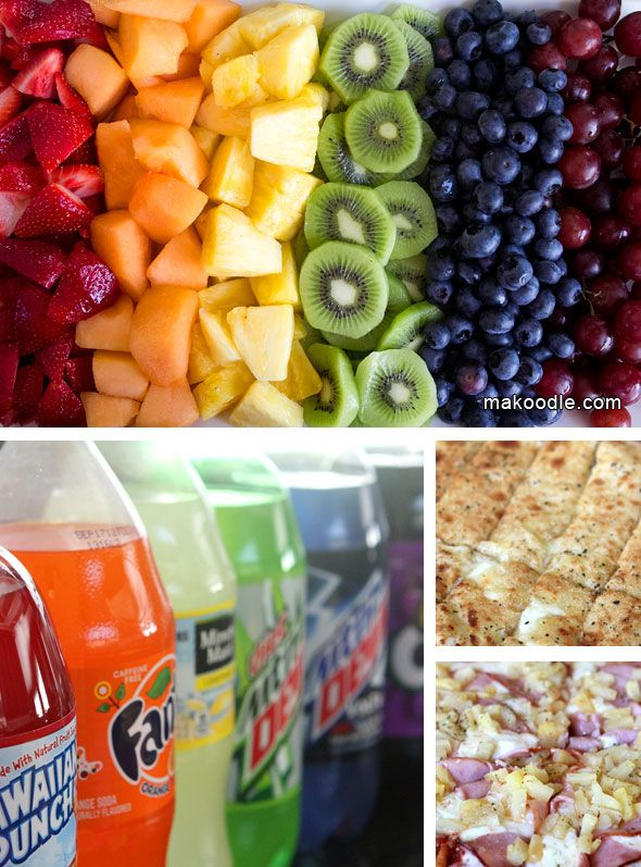 Rainbow Birthday Party Food- love the soda idea, but relabel or at least peel the labels off.