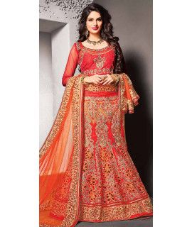 Pretty Orange Silk Lehenga Choli With Dupatta.