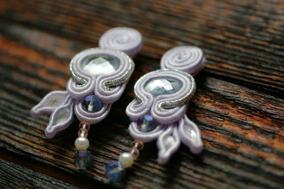 Lavender soutache statement earrings with gray by NagualArt