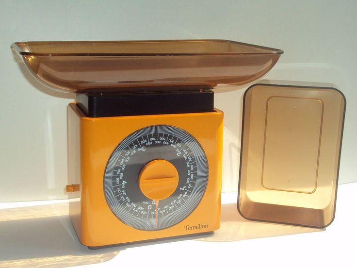 """Balance de cuisine, 5 Kg, de ménage, TERRAILLON, """"CORDON BLEU"""", orange, avec son plateau, et son bol, 70, Vintage, design, mécanique de la boutique LApetiteGALERIEdeJP sur Etsy"""