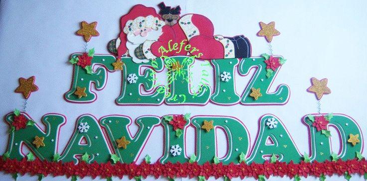 Feliz navidad banner letrero en foami pinterest for Ornamentacion para navidad