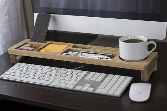 Ash Wood Desk Organizer Desktop Shelf Office & Home Keyboard Rack Wooden Desktop Storage Accessories Unique Gift