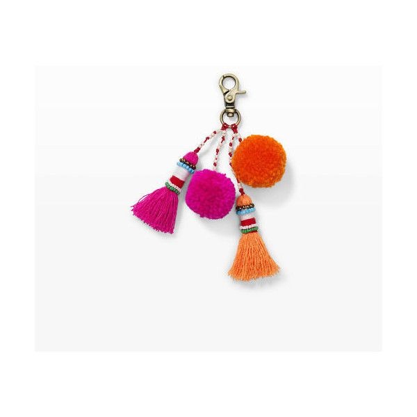 Club Monaco Elliott Mann Pom Keychain in Color Pink (£22) ❤ liked on Polyvore featuring accessories, pink, club monaco, pink key chains, fob key chain and pom pom key chain