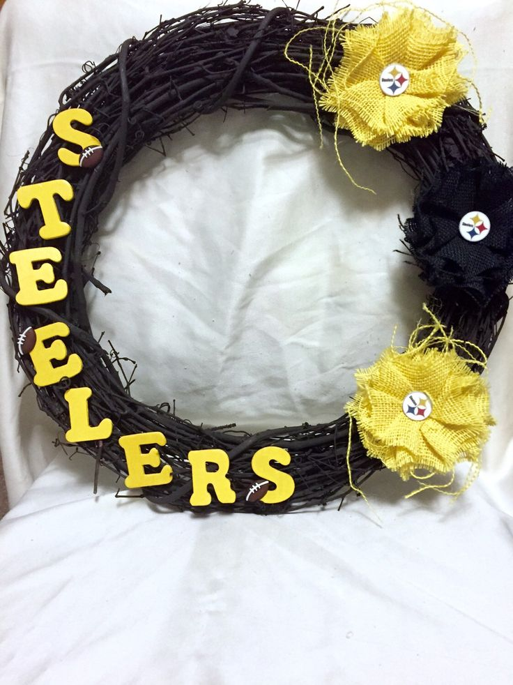 Pittsburgh Steelers Wreath by SimplyImagination on Etsy https://www.etsy.com/listing/219161994/pittsburgh-steelers-wreath