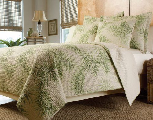 Tropical Palm Tree Green Cream Bedding Quilt Set King By