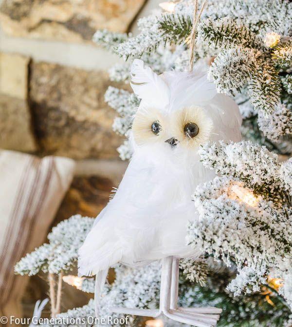 Gorgeous Christmas Home Tour 2014 / The entry way Flocked tree + white owls