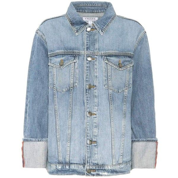 Frame Le Jaket Denim Jacket ($560) ❤ liked on Polyvore featuring outerwear, jackets, blue, denim jacket, blue jackets, blue jean jacket, jean jacket and blue denim jacket