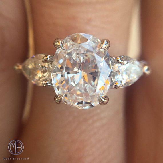 2.26ct Oval Cut Diamond Three-Stone Engagement Ring