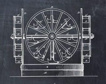 Noria de patentes imprimir, patente lámina, patente cartel, noria de arte, impresión de noria, plan de la noria, Parque de atracciones