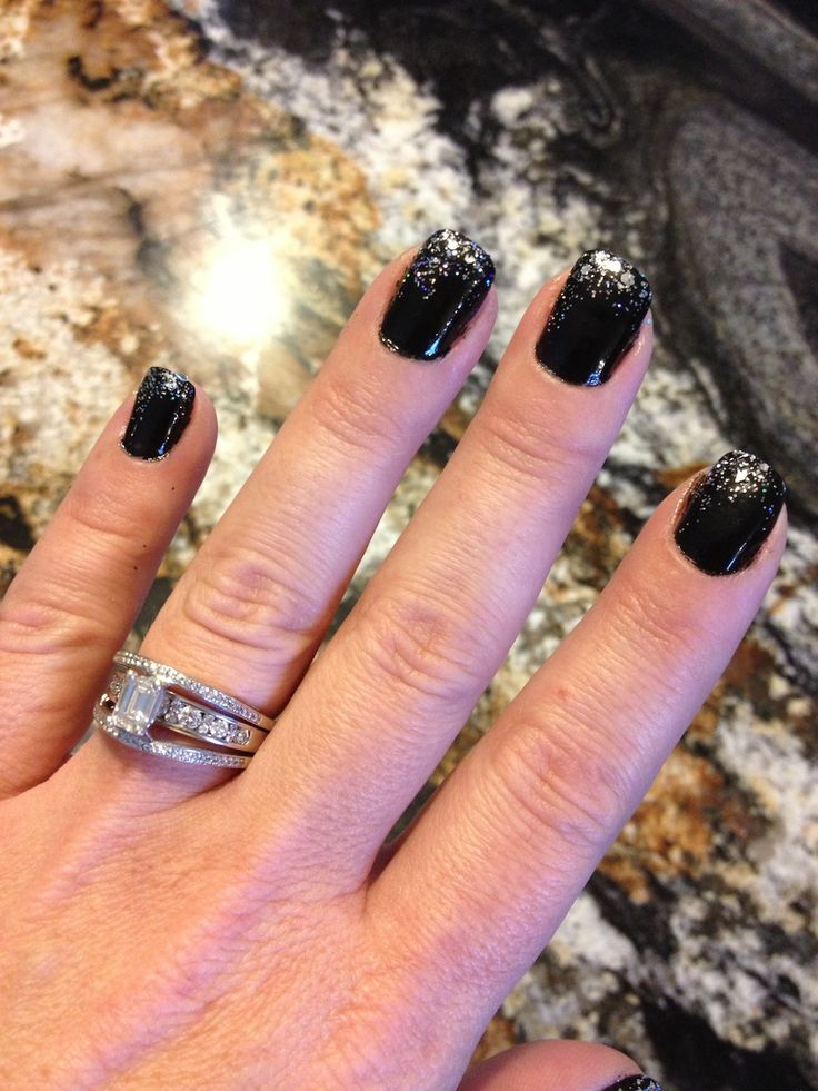Black with Silver Tips Nails | Black and Silver Gradient Nail Paint/Nail Fireworks | Jenny's Box Of ...