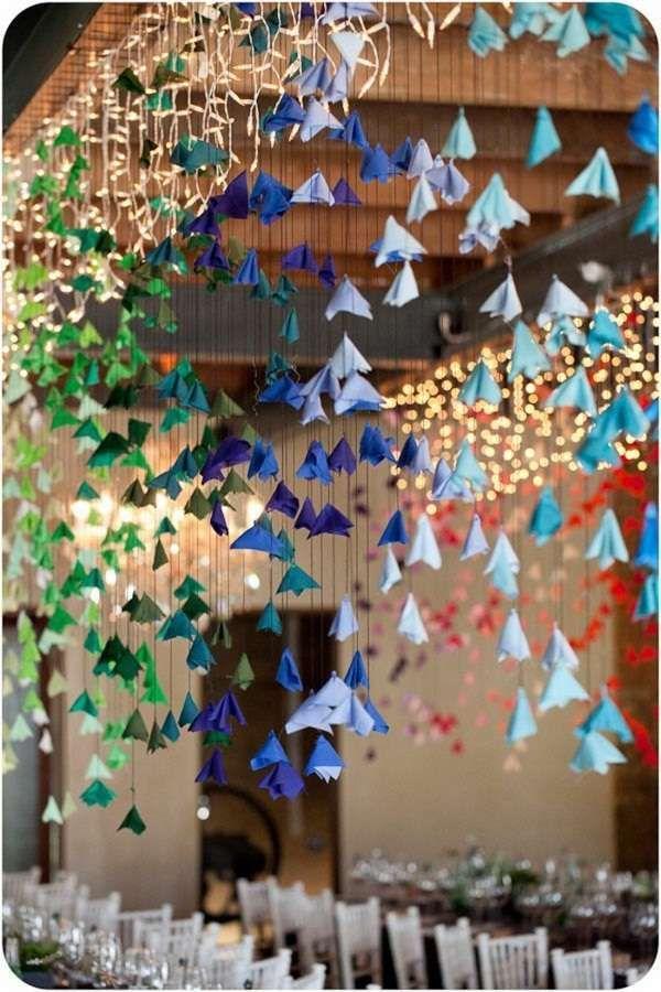 Decorazioni per il matrimonio con gli origami - Fiori colorati chic in origami