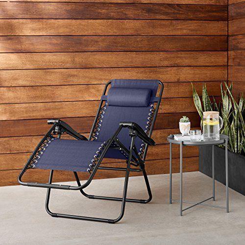 Zero Gravity Chair For Outdoor Garden Patio Back Yard Pool Relax Chair Blue NEW #ZeroGravityChairForOutdoorGarden
