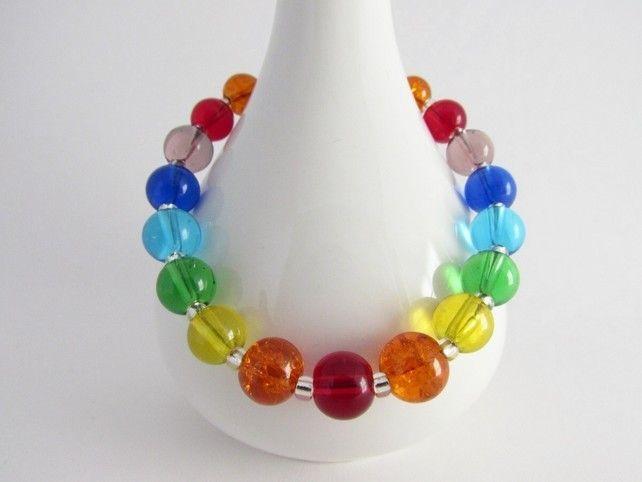 "Rainbow Bracelet, Chakra Bracelet. 7.5"" £7.00"