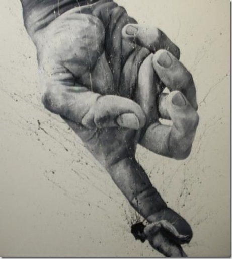 Paolo Troilo: paints with his fingers, only uses black and white, and only paints himself.