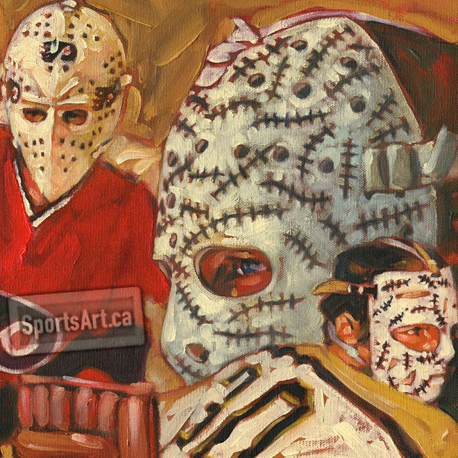 """Detail from """"Legends of the Crease"""". Hall of Fame goaltenders Bernie Parent and Gerry Cheevers."""