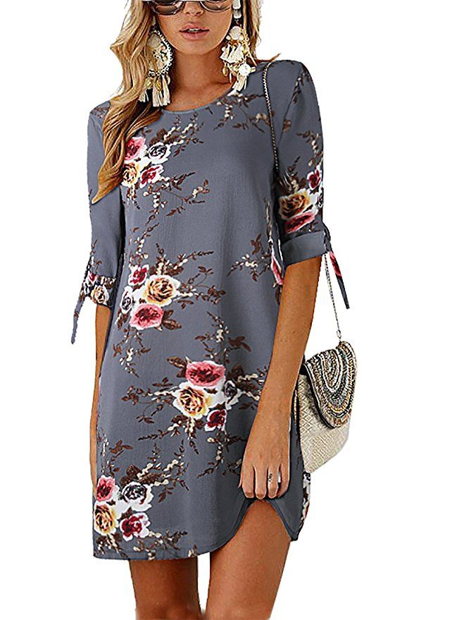 Womens Summer Round Neck Casual Mini Dress Tie Sleeve Floral Swing Fit Chiffon Plus Size Tunic T-Shirt Dress Cocktail