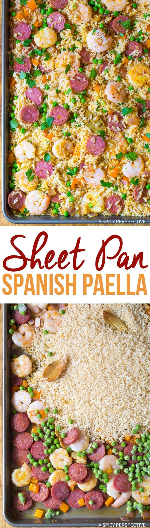 Easy Spanish Paella Sheet Pan Dinner Recipe #healthy #light via @spicyperspectiv