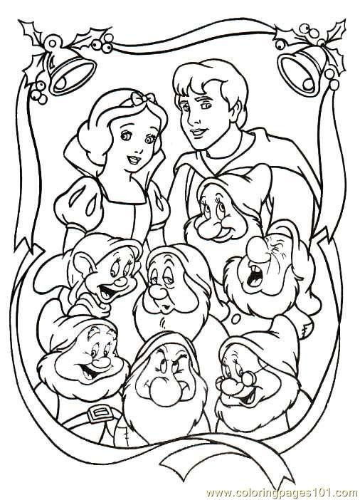 free printable coloring image Snow White Christmas Coloring