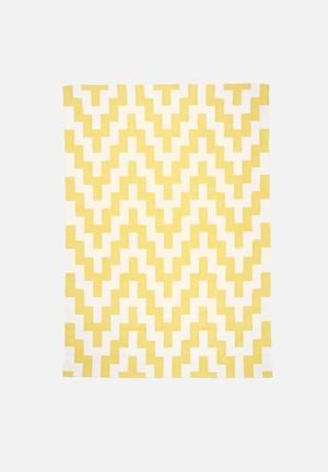 Sixth Floor Yellow Step Rug Handwoven Cotton Dhurrie