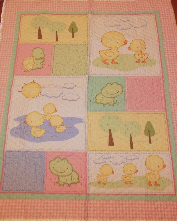 Vtg Baby Quilt Blanket Pink Gingham Frog Ducks Satin Trim Nursery Wall Hanging | eBay