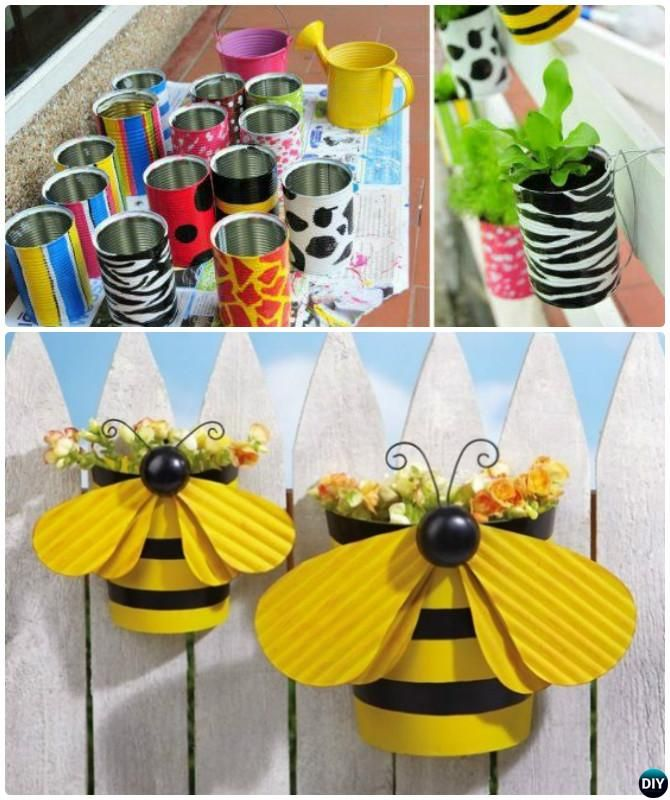 DIY Painted Zebra Bee Tin Can Planter Garden Fence Decor Instructions-20 Fence Makeover Ideas