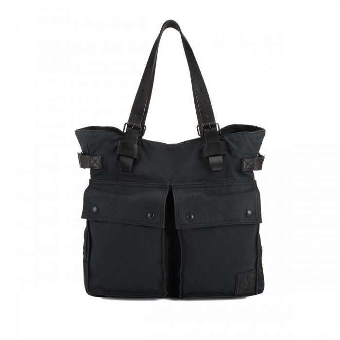 Belstaff Pinner Canvas Tote Bag Black Front available at Betty Hemmings.