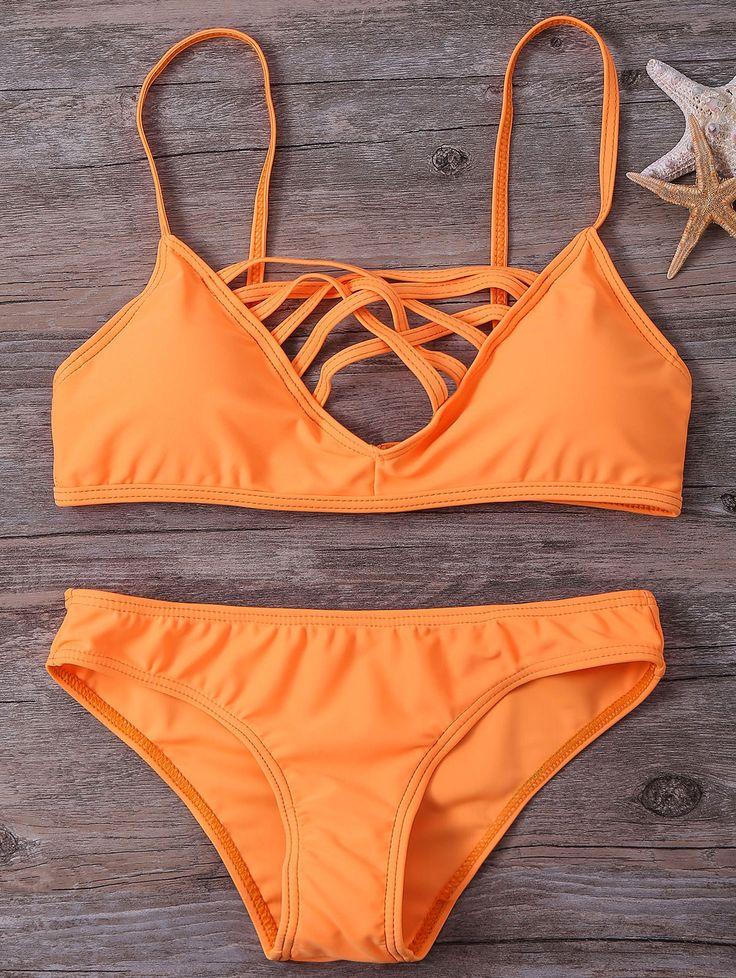 Spaghetti Strap Strappy Bikini Set — 20.82 € --------------------Size: XL Color: SWEET ORANGE