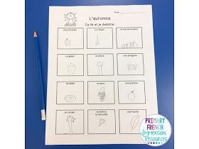 Primary French Immersion Resources: Fall assessments