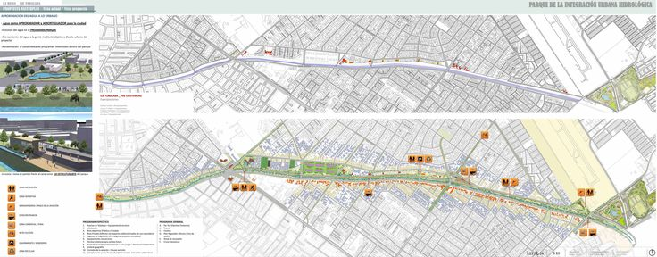 Intervención urbana intercomunal La Reina + Peñalolen. Situación pre-existentes + Propuesta Plan Maestro. Esc 1/1000.        Equipo de trabajo: Compan + Pavez + Encinas + Seguel.