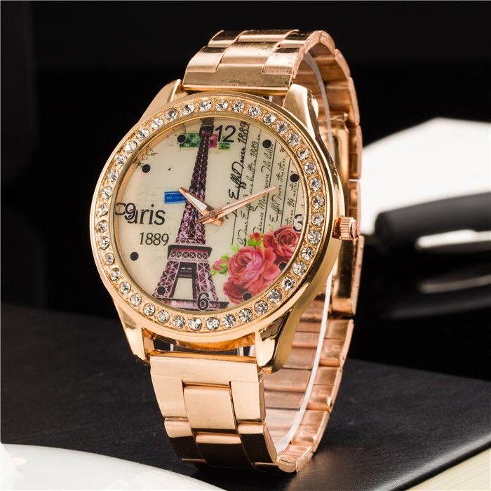 """""""The Eiffel Tower"""" Rose Gold Women Dress Watch – $25.99"""