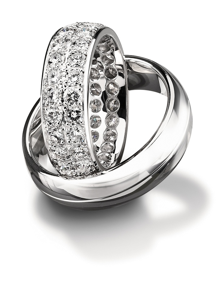 Fancy White gold or platinum wedding bands from Furrer Jacot available at Spitz Jewelers https