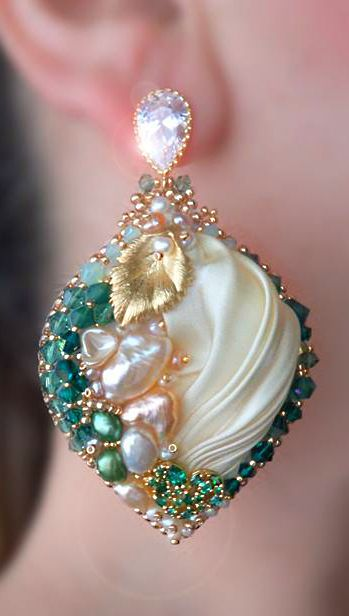 ~~Beaded Shibori Emerald Heart - St. Valentine's Day earrings by Serena Di Mercione~~
