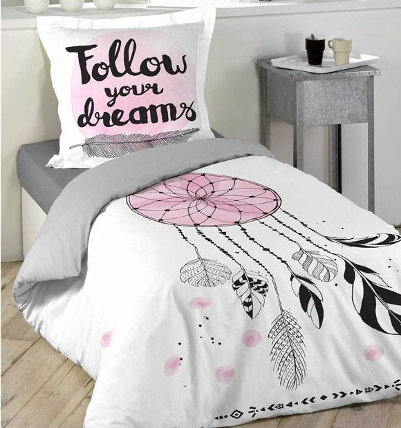 Młodzieżowa biała pościel z łapaczem snów