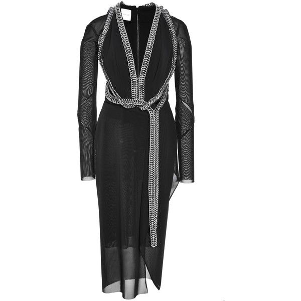 Dion Lee Moto Chain Dress Rubber ($6,665) ❤ liked on Polyvore featuring dresses, chain dress, v neck dress, dion lee dress, zip back dress and twist dress