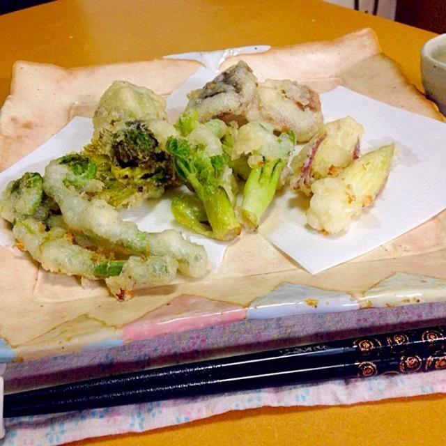 初の天ぷら... 難しい...  f^_^;)  たらの芽、こごみ、ふきのとう、みょうが、しいたけ - 13件のもぐもぐ - 旬の天ぷら!  f^_^;) by Kei Sato